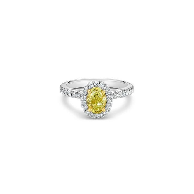 Aura fancy yellow oval-shaped diamond ring