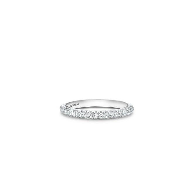 Alliance d'éternité DB Darling semi-pavée en or blanc
