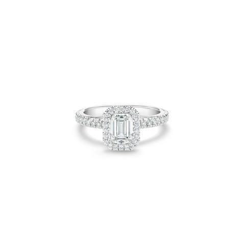 Solitaire Aura diamant taille émeraude