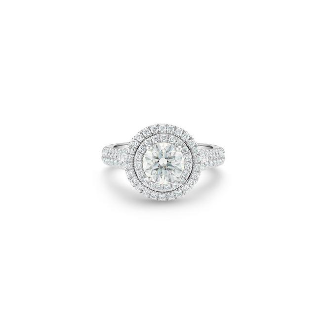 Aura double halo round brilliant diamond ring
