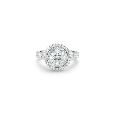 Solitaire Aura double halo diamant taille brillant