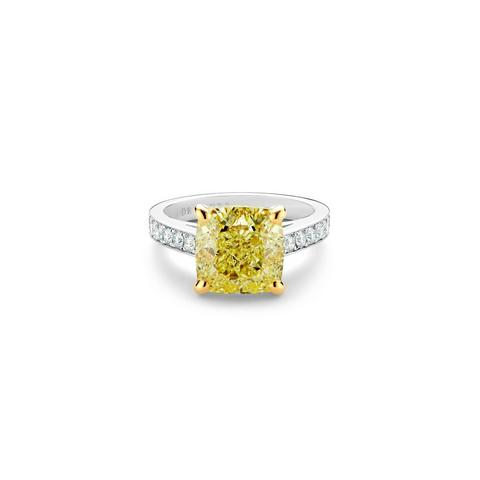 Old Bond Street fancy intense yellow cushion-cut diamond ring