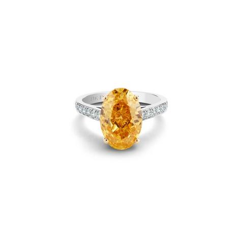 Solitaire Old Bond Street diamant fancy vivid yellow orange taille ovale