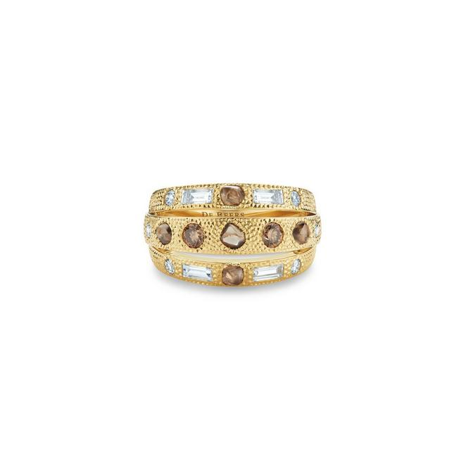 Talisman three line ring in yellow gold