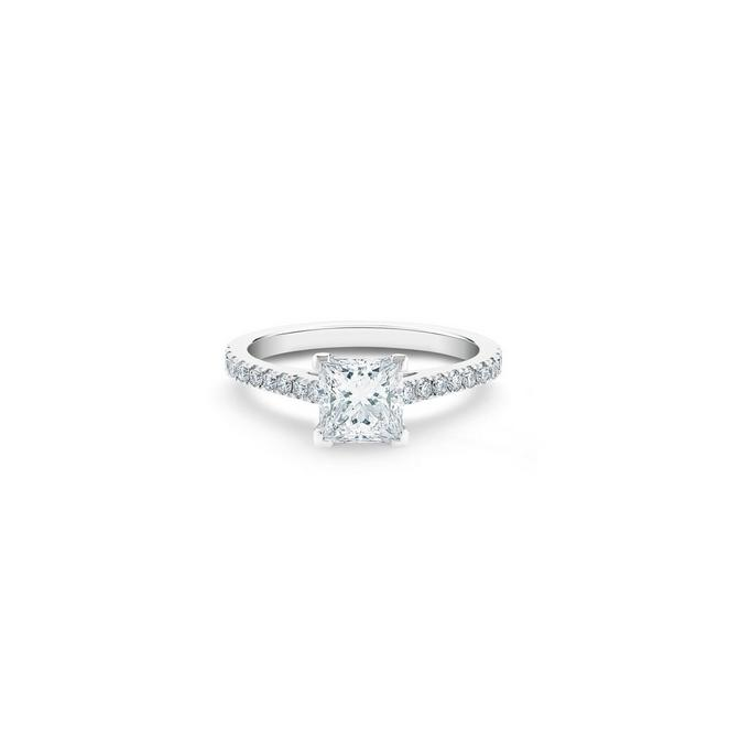 DB Classic鉑金公主方形鑽石密釘鑲戒指