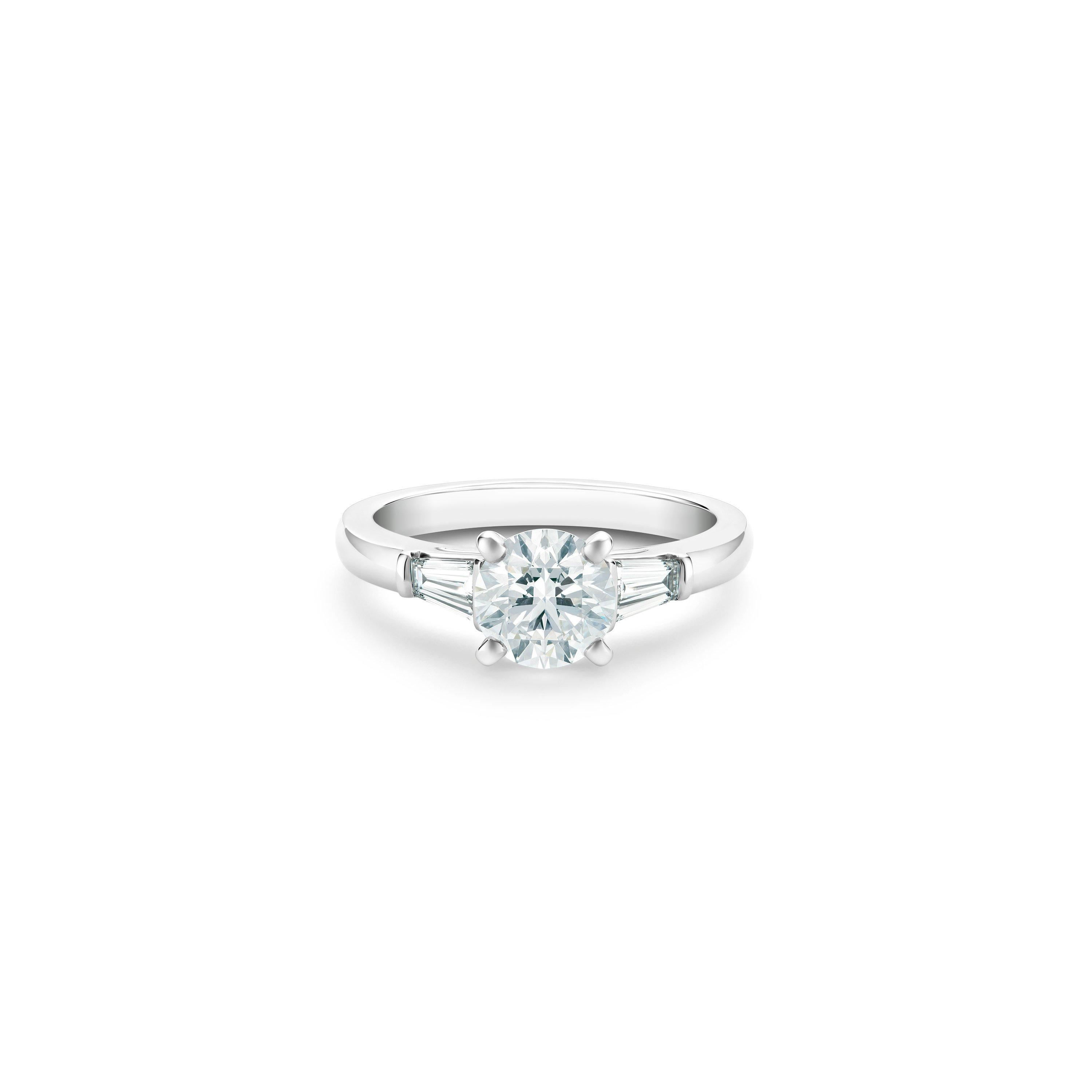 Db Classic Round Brilliant And Tapered Diamond Ring De Beers At