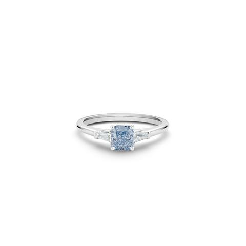 DB Classic fancy intense blue radiant-cut diamond ring