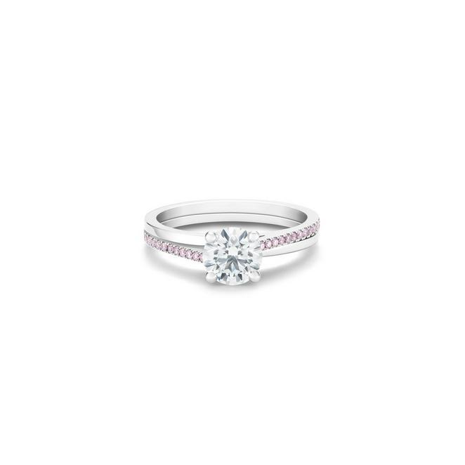 The Promise round brilliant diamond ring with pink diamonds