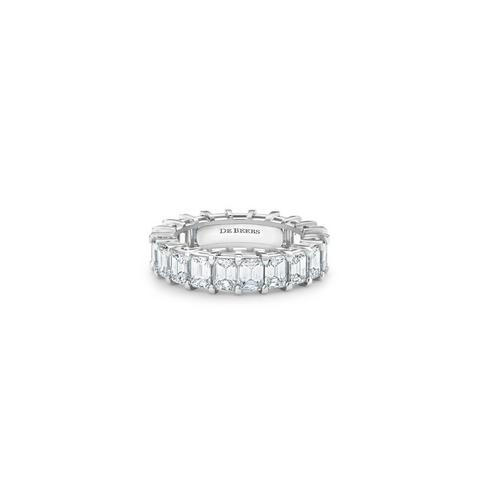 DB Classic emerald-cut diamond eternity band in platinum