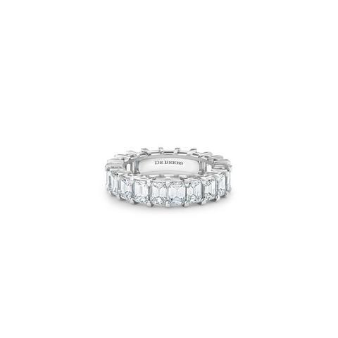 DB Classic Eternity 鉑金祖母綠式鑽石全鑲戒指