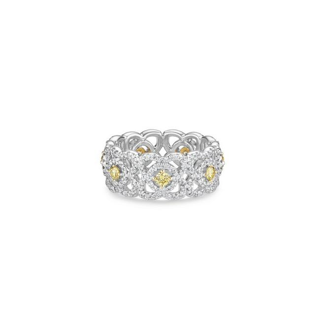 Enchanted Lotus yellow diamond band in white gold