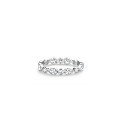 Petal band in white gold