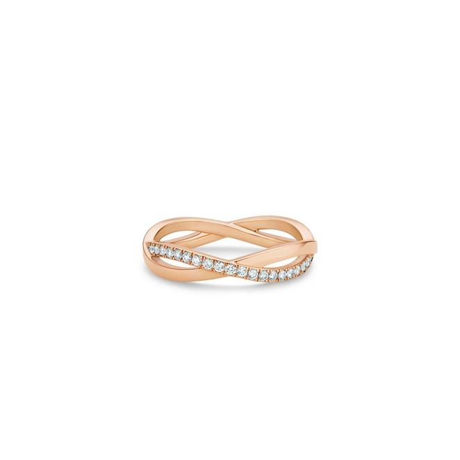 Infinity half pavé band in rose gold