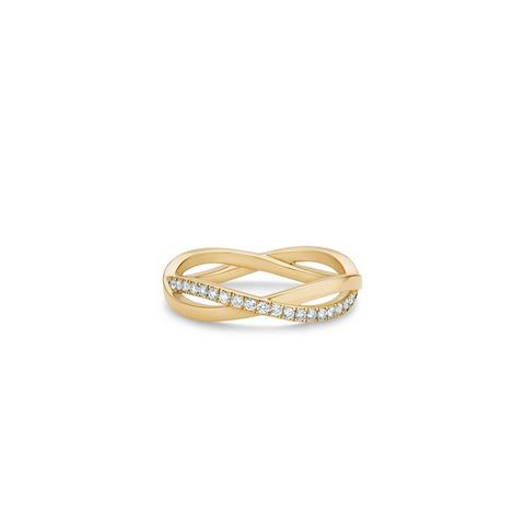 Infinity half pavé band in yellow gold