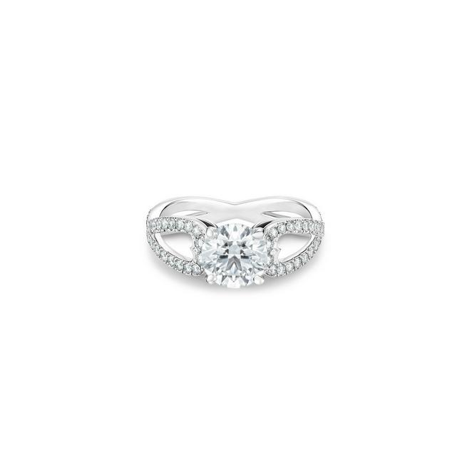Solitaire Infinity Heart diamant rond brillant