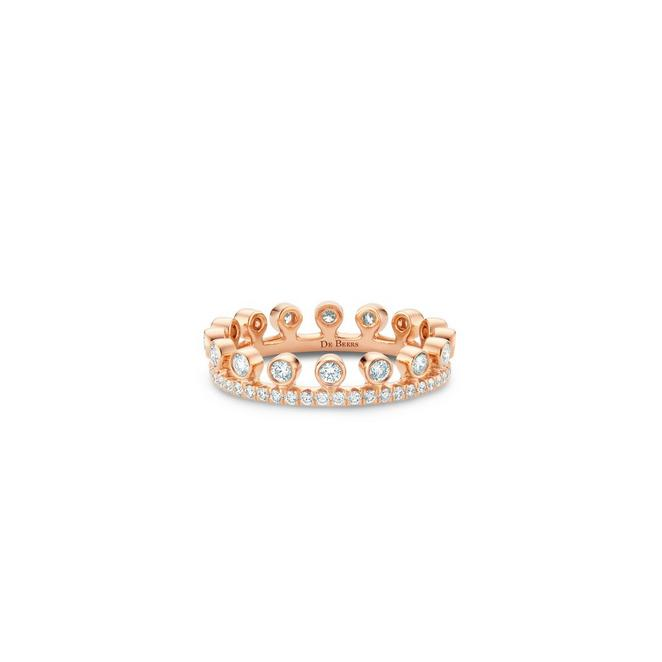 Dewdrop 玫瑰金单层全密镶戒指