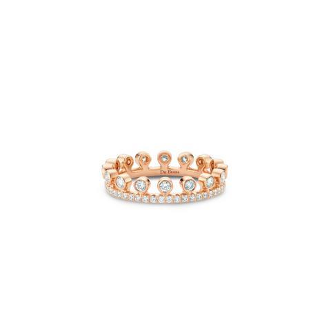 Dewdrop玫瑰金單行全鑲戒指
