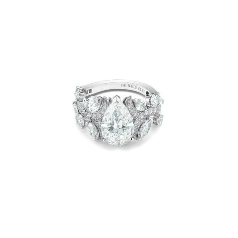 Adonis Rose pear-shape diamond ring in platinum