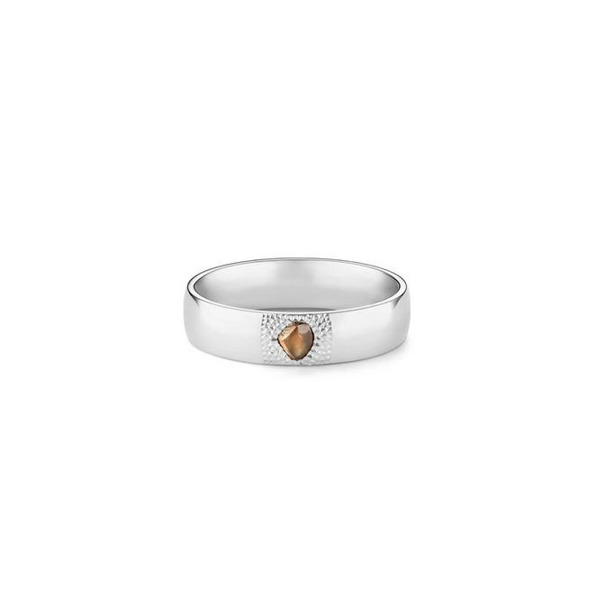 Bague Talisman large en or blanc