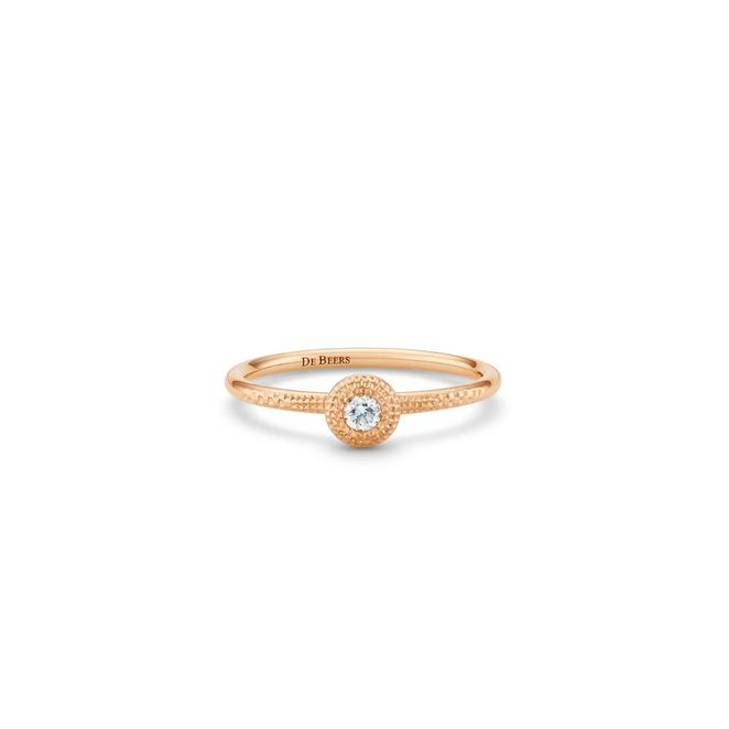 Talisman round brilliant diamond ring in rose gold