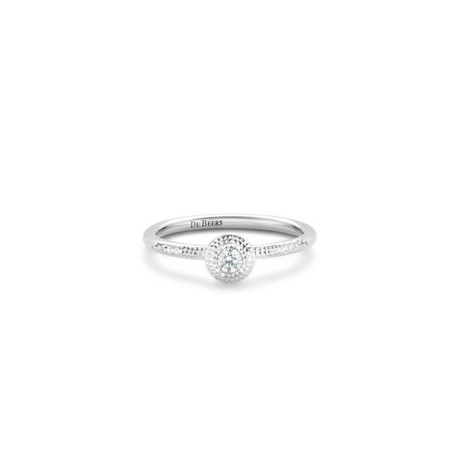 Talisman round brilliant diamond ring in white gold