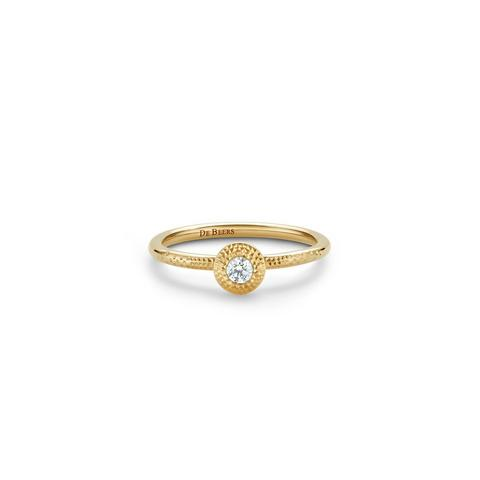 Talisman round brilliant diamond ring in yellow gold