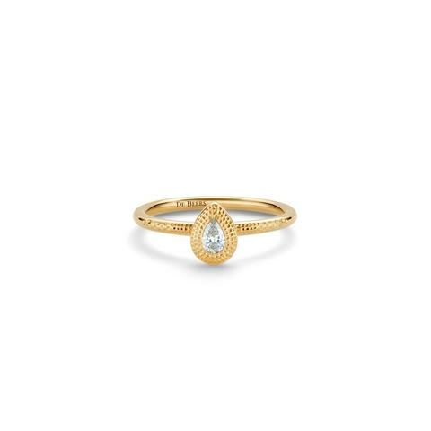 Talisman pear-shaped diamond ring in yellow gold