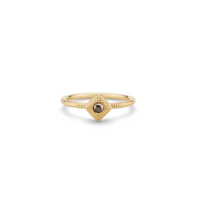 Talisman rough diamond yellow gold ring