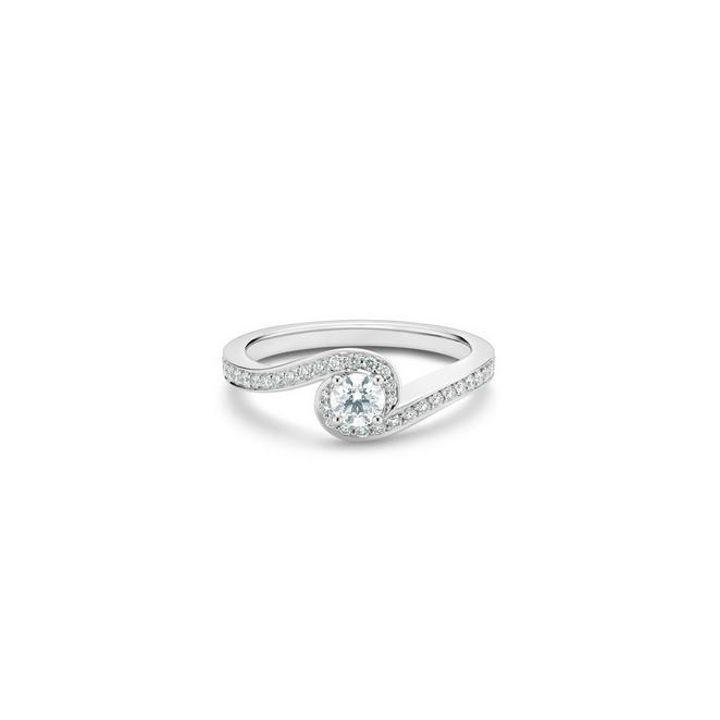 Caress round brilliant diamond ring in platinum