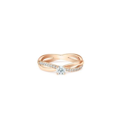 Infinity round brilliant diamond ring in rose gold