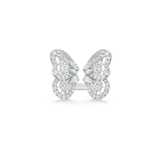Monarch Butterfly White Diamond Ring