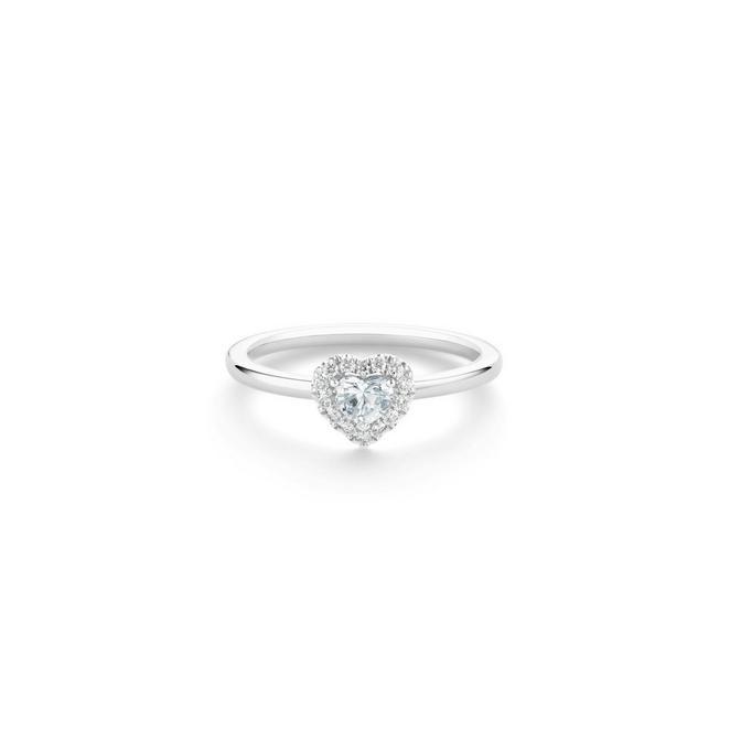 Aura 鉑金心形鑽石戒指