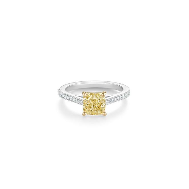 DB Classic Pavé fancy yellow cushion-cut diamond ring