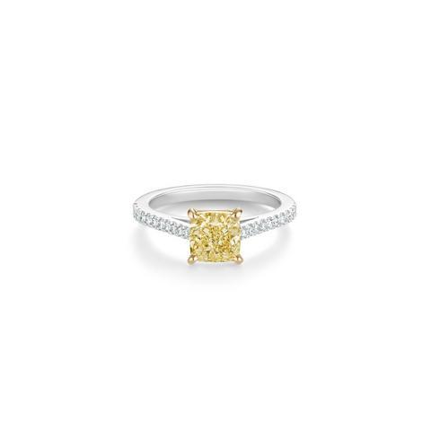Solitaire DB Classic Pavé diamant jaune taille coussin