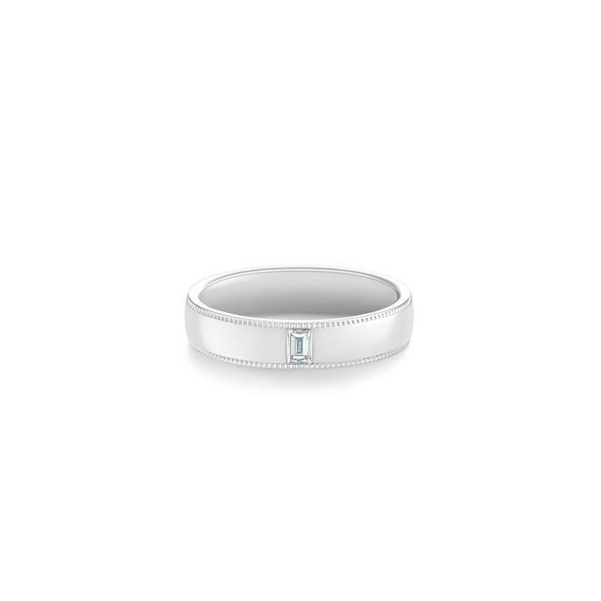 Alliance DB Classic Wide Court Poinçon un diamant en platine