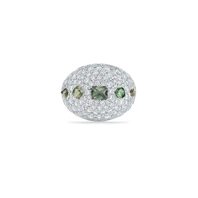 Talisman cocktail ring in white gold