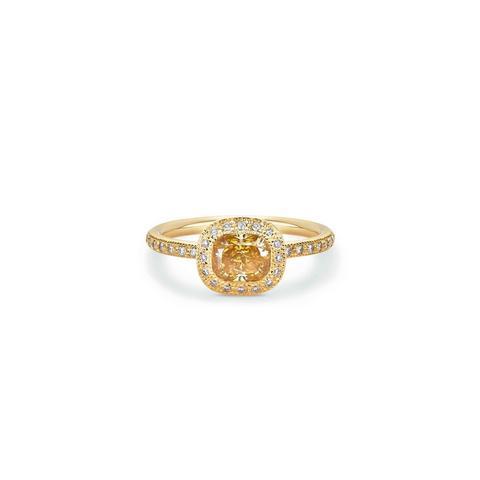 Talisman cushion-cut stacking ring in yellow gold