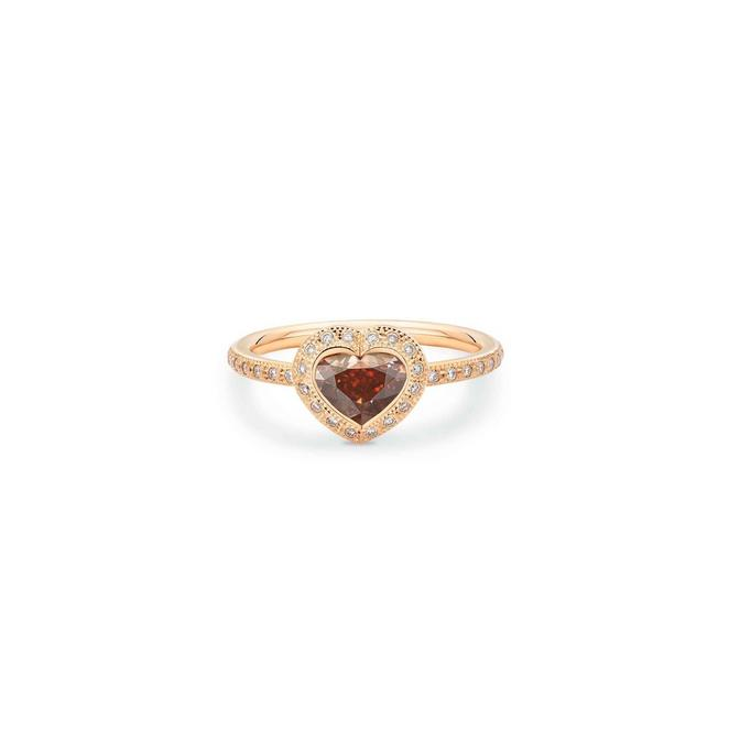 Talisman heart-shaped stacking ring in rose gold