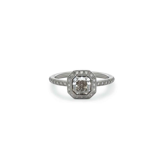 Talisman radiant-cut stacking ring in black rhodium white gold