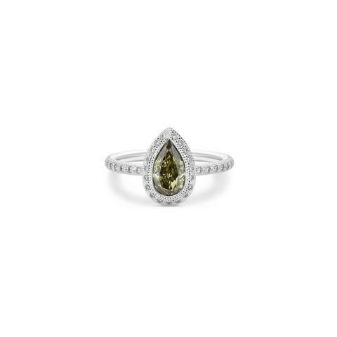 Talisman pear-shaped stacking ring in white gold