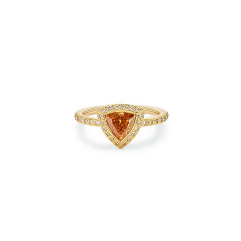 Talisman trilliant-cut stacking ring in yellow gold